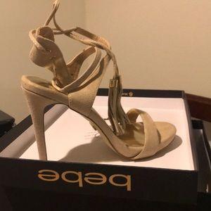Bebe Kay Natural Nude Tan Strappy lace up heels 7